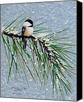 Flurries Canvas Prints - Chickadee Set 8 - Bird 1 - Snow Chickadees Canvas Print by Kathleen McDermott