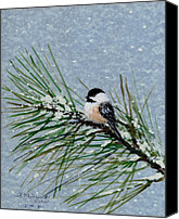 Flurries Canvas Prints - Chickadee Set 8 - Bird 2 - Snow Chickadees Canvas Print by Kathleen McDermott