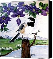 Tree Ceramics Canvas Prints - Chickadee with Blue Clematis Canvas Print by Sandra Maddox