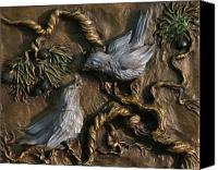 West Reliefs Canvas Prints - Chickadees on Juniper with Berries Canvas Print by Dawn Senior-Trask
