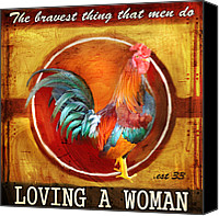 Rooster Canvas Prints - Chicken Little Canvas Print by Joel Payne