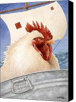 Humor. Painting Canvas Prints - Chicken Ship... Canvas Print by Will Bullas