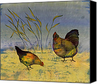 Rural Scenes Tapestries - Textiles Canvas Prints - Chickens On Silk Canvas Print by Carolyn Doe