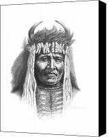 Pencil Drawings Drawings Canvas Prints - Chief Big Face Canvas Print by Lee Updike