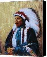 Indian Portrait. Native American.southwest. Canvas Prints - Chief Black Bear Canvas Print by Howard Searchfield