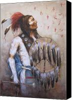 Indian Portrait. Native American.southwest. Canvas Prints - Chief Goes to War Canvas Print by Howard Searchfield