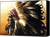 Pow Wow Canvas Prints - Chief Canvas Print by Greg Olsen