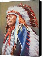 Red Clothing Canvas Prints - Chief Hollow Horn Bear Canvas Print by American School