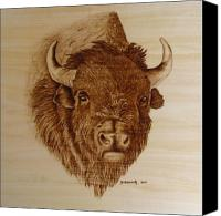 Pyrography Canvas Prints - Chief Canvas Print by Jo Schwartz