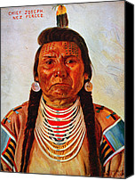1890s Portrait Canvas Prints - Chief Joseph, Nez Percé Chief Canvas Print by Everett