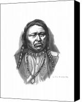 Pencil Drawings Drawings Canvas Prints - Chief Ouray Canvas Print by Lee Updike