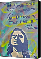 Conservative Painting Canvas Prints - Chief Sealth Canvas Print by Tony B Conscious