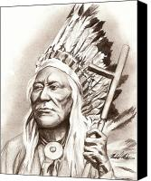Photorealism Canvas Prints - Chief Washakie Canvas Print by Michael Mestas
