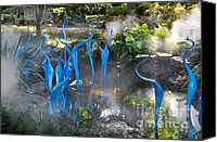 Landscapes Glass Art Canvas Prints - Chihuly Blue Fog Canvas Print by Cheryl McClure
