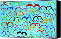 Flock Of Birds Canvas Prints - Child Drawing Of Colorful Birds In Blue Sky Canvas Print by Donald Iain Smith