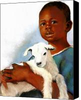 Goat Pastels Canvas Prints - Child With Baby Goat Canvas Print by Joyce Geleynse