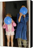 Pajamas Canvas Prints - Children blowing up balloons Canvas Print by Sami Sarkis