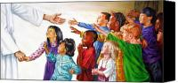 Children Canvas Prints - Children Coming to Jesus Canvas Print by John Lautermilch