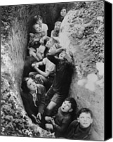 Civilians Canvas Prints - Children In An English Bomb Shelter Canvas Print by Everett