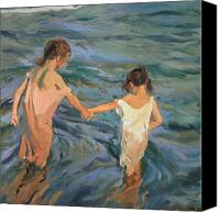 On The Beach Canvas Prints - Children in the Sea Canvas Print by Joaquin Sorolla y Bastida