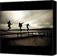 Children Photo Canvas Prints - Children Playing On A Bridge Canvas Print by Alexandre Stopnicki