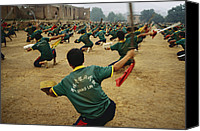 Martial Arts Canvas Prints - Children Practice Kung Fu In A Field Canvas Print by Justin Guariglia