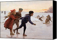 Skates Canvas Prints - Children Skating Canvas Print by Percy Tarrant