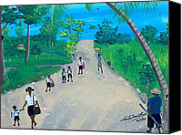 Nicole Jean-louis Canvas Prints - Children Walking to School Canvas Print by Nicole Jean-Louis
