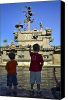Unity Canvas Prints - Children Wave As Uss Ronald Reagan Canvas Print by Stocktrek Images