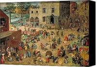 Panel Canvas Prints - Childrens Games Canvas Print by Pieter the Elder Bruegel