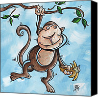Kid Painting Canvas Prints - Childrens Whimsical Nursery Art Original Monkey Painting MONKEY BUTTONS by MADART Canvas Print by Megan Duncanson