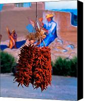 Ristra Canvas Prints - Chile Ristra Taos New Mexico Canvas Print by George Oze