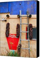 Ristra Canvas Prints - Chile Ristras Truchas New Mexico Canvas Print by George Oze