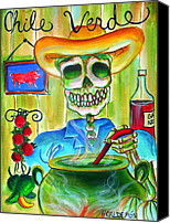 Pig Painting Canvas Prints - Chile Verde Canvas Print by Heather Calderon