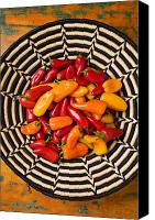 Salsa Canvas Prints - Chili peppers in basket  Canvas Print by Garry Gay