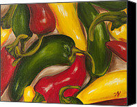 Spice Painting Canvas Prints - Chili Peppers Canvas Print by Nicole Okun