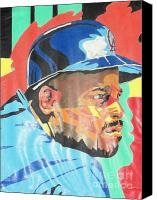 Baseball Pastels Canvas Prints - Chilli Davis Canvas Print by Damion Powell