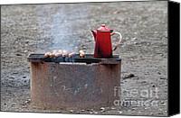 Barbecue Canvas Prints - Chilly Morning Canvas Print by Louise Heusinkveld