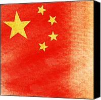 Rusty Digital Art Canvas Prints - China flag Canvas Print by Setsiri Silapasuwanchai
