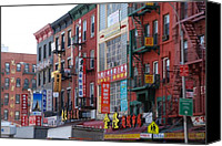 Nyc Fire Escapes Canvas Prints - China Town Buildings Canvas Print by Rob Hans