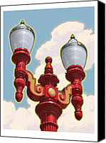 Old Town Digital Art Canvas Prints - Chinatown Street Light Canvas Print by Mitch Frey