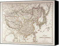Antique Map Digital Art Canvas Prints - Chinese And Japanese Empires Canvas Print by Fototeca Storica Nazionale