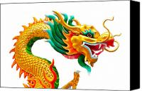 Illustration Sculpture Canvas Prints - Chinese beautiful dragon isolated on white background Canvas Print by Nichapa Sornprakaysang
