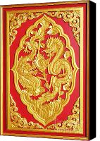 Artist Ceramics Canvas Prints - Chinese design Canvas Print by Somchai Suppalertporn