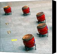 Drum Set Canvas Prints - Chinese Drum Set Canvas Print by Yali Shi