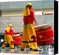 Drum Set Canvas Prints - Chinese Drummers at Work Canvas Print by Yali Shi