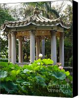 Lotus Leaves Canvas Prints - Chinese Pavilion in a Lotus Garden Canvas Print by Yali Shi