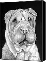 Dog Painting Canvas Prints - Chinese Sharpei Canvas Print by Enzie Shahmiri