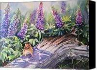 Blue Flowers Painting Canvas Prints - Chipmunk On Log With Lupine Canvas Print by Patricia Pushaw