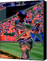 Mlb Major League Baseball Canvas Prints - Chipper Jones Canvas Print by Rod Kaye
